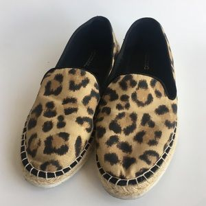 H&M DIVIDED LEOPARD PRINT ESPADRILLE SLIP ON SHOES